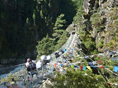 Puente colgante en Nepal
