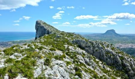 Al fondo el Montgó desde la cresta Sierra Segaria