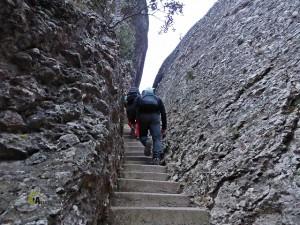 senda con escalones en Montserrat