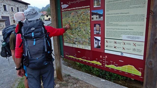 Panel del camino Natural en Asturias