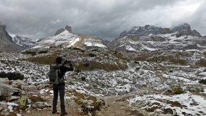 Paisaje nevado en Dolomitas
