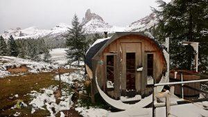 Sauna en el refugio Palmieri de Croda de Lago