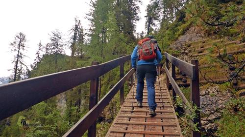 pasarela de madera en Dolomitas